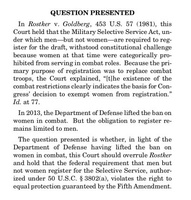 Supreme Court asked to review Constitutionality of current male-only draft registration requirement