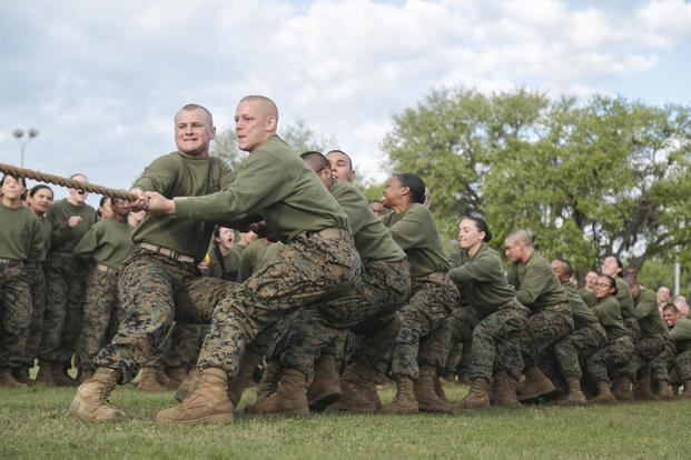 U.S. Marines with Fox Company, 2nd Battalion, and Oscar Company, 4th Battalion, Recruit Training Regiment, take part in Tug-of-War during the Field Meet at 4th Recruit Training Battalion physical training field on Marine Corps Recruit Depot, Parris Island, S.C., April 21, 2018. (U.S. Marine Corps/Cpl. Sarah Stegall) - Image Source DOD